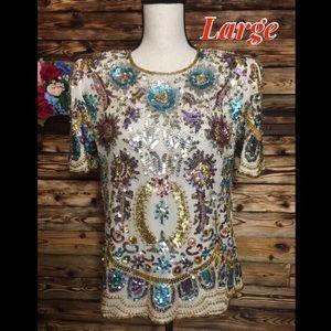 Laurence Kazar Vintage 80's Silk Sequin Blouse L